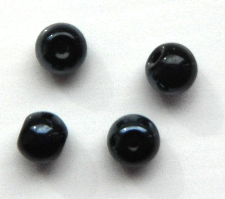 Chinese 4 mm round glass beads 50 in pack Black Pearl