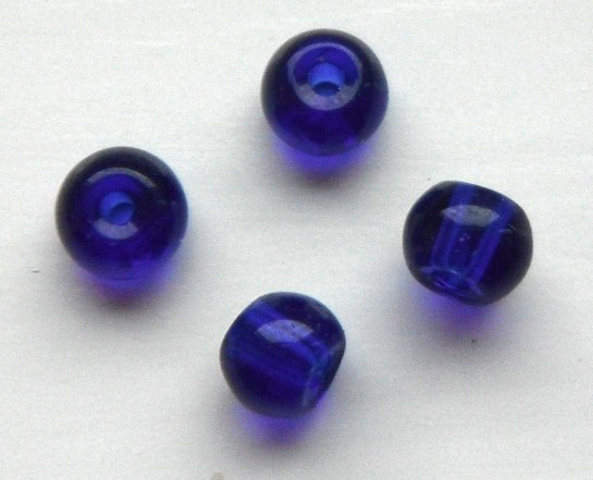 Chinese 4 mm round glass beads  50 in pack Blue
