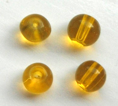 Chinese 4 mm round glass beads 50 in pack Yellow