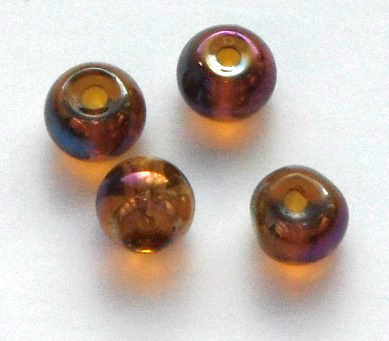 Chinese 4 mm round glass beads 50 pack Brown AB