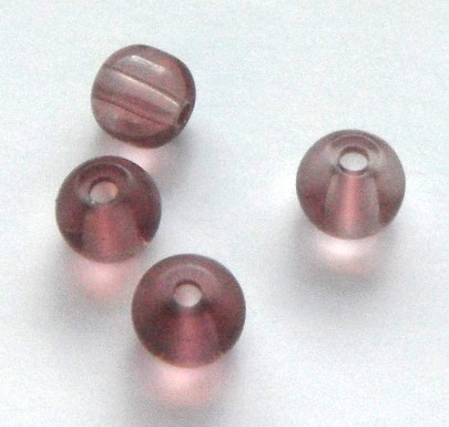 Chinese 4 mm round glass beads 50 in pack Light Purple