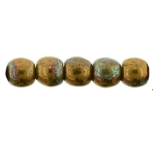 100 Czech 2mm round glass beads Iris Brown 21415