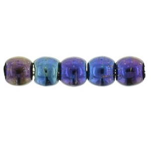 100 Czech 2mm round glass beads Iris Blue 21435