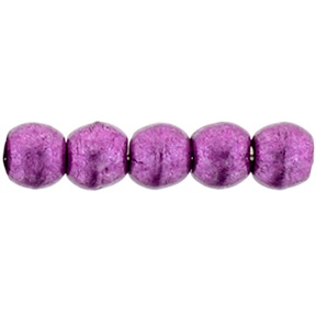 100 Czech 2mm round glass beads Sat Metallic Pink Yarrow 77062