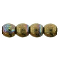 100 Czech 3mm round glass beads Oxidised Bronze Clay 15768
