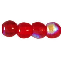 100 Czech 3mm round glass beads Siam Ruby AB X9008