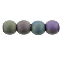 50 Czech 6mm Round Beads Matte Iris Purple 21195
