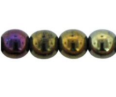 50 Czech 6mm round glass beads Iris Brown 21415