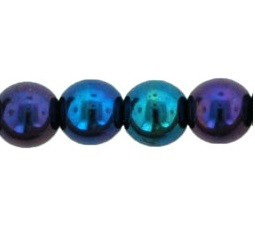 50 Czech 6mm round glass beads Iris Blue 21435