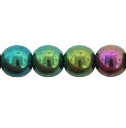 50 Czech 6mm round glass beads Iris Green 21455