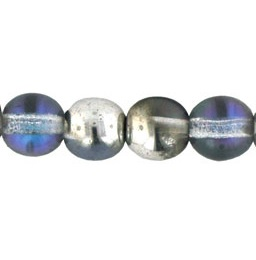 50 Czech 6mm round glass beads Silver/Blue/Crystal 29536