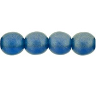 50 Czech 6mm round glass beads Sueded Gold Capri Blue MSG6008