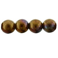 50 Czech 6mm round glass beads Patina Opaque Red R14415