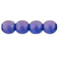 50 Czech 6mm round glass bead Cosmic Twinkle Capri Blue S10C6008