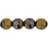 50 Czech 6mm round glass beads Jet Bronze Vega YM2398