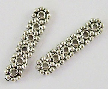 Tibetan 6 Hole Daisy Style Beaded Spacer Bar