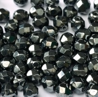 25 pack 6 mm Fire Polished Jet Hematite 23980 14400
