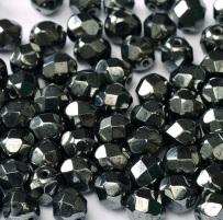 Jet AB 25 6mm Czech Glass Firepolish Beads