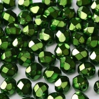25 pack 6 mm Fire Polished Jet Heavy Metal Green 23980 34444