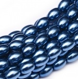 50 Czech Rice Pearls 6 x 4 mm Persian Blue 10190