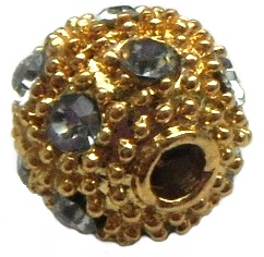 10 mm Nickel Free Brass Rhinestone Bead Gold