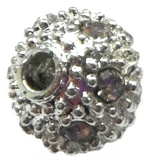 10 mm Nickel Free Brass Rhinestone Bead Silver