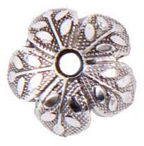 8mm Patera .999 A. Silver Plated Etched Design Beadcap