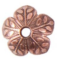 8mm Patera A. Copper Plated Etched Design Beadcap