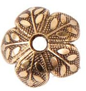 8mm Patera 24K A. Gold Plated Etched Design Beadcap