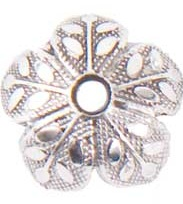 8mm Patera .999 S. Silver Plated Etched Design Beadcap