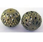 ABNF05 20mm A Bronze Nickel Free Round Filigree Beads 9 pack