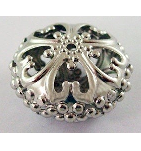 AS01 23mm Antique Silver Flat Round Filigree Bead 13 pack