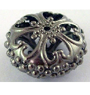 Bl03 23mm Gunmetal Flat Round Filigree Bead 13 pack