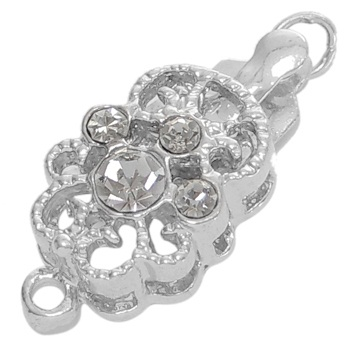 BCRP01 19mm Platinum Colour Box Clasp with Rhinestones