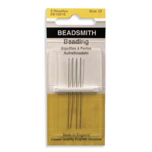 4 Pack Size 10 Long Beading Needles