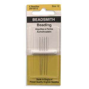 4 Pack Size 12 Long Beading Needles