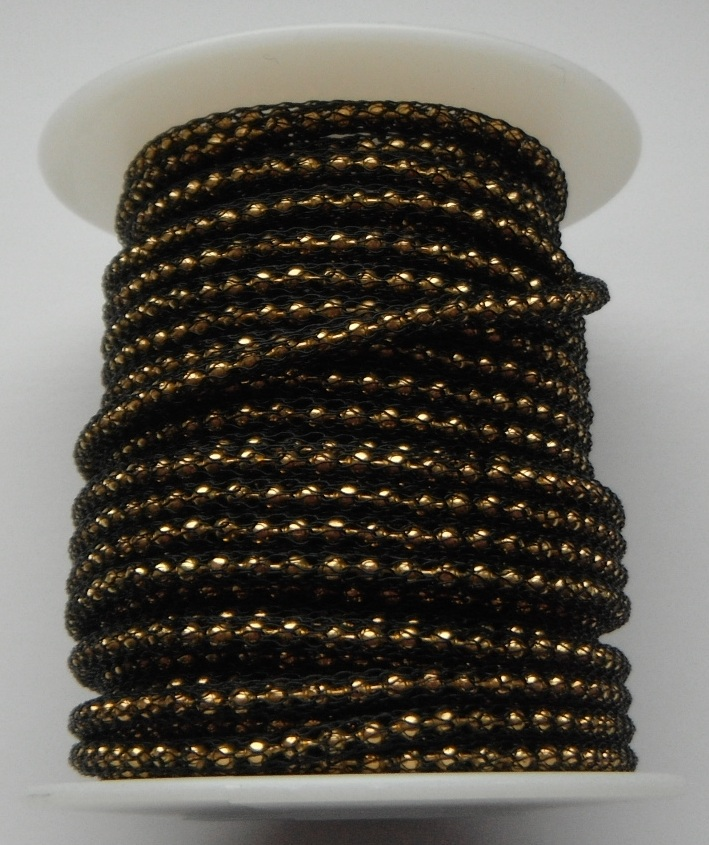 Black wire over 2mm Gold Plated bead chain Price per 10cm
