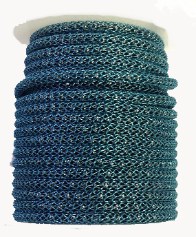 Blue wire over Gunmetal bead chain Price per 10cm