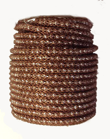 Brown wire over Silver Plated bead chain Price per 10