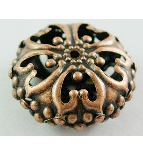 CNF06 23mm Antique Copper Nickel Free Flat Round Bead 13 pack