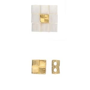 Cymbal Elements Voutakos Tila bead sub 24K Gold Plate 2 pack