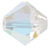 4mm Faceted Bicone CZB04/101 Crystal AB 25 pack