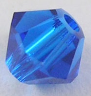 4mm Faceted Bicone CZB04/243 Blue 25 pack