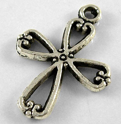 22.5mm Antique Silver Cross Number 2 Charm Lead and Nickel Free