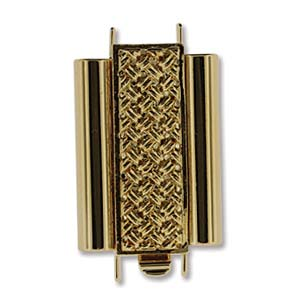 10 x 18 mm Cross Hatch Beadslide Clasp Gold Plated