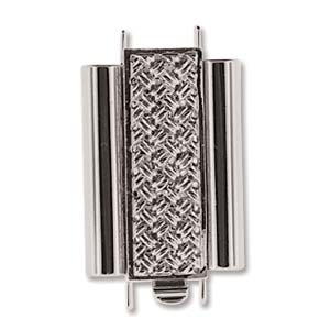 10 x 18 mm Cross Hatch Beadslide Clasp Rhodium