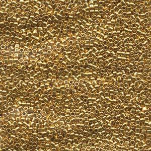 2.5 grams Size 11 Miyuki Delica 24k Gold Plated DB031