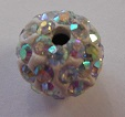 10 mm Metal Alloy Rhinestone Bead Clear AB