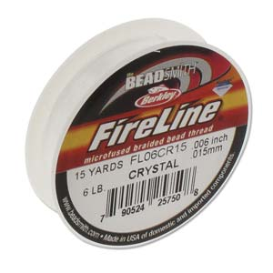 6 lb strength, size D or 0.006 inch dia Fireline 15 yds Crystal