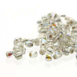 100 pack True2 Firepolish Crystal AB Silver Lined 00030 78109